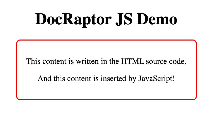 DocRaptor JS demo web page screenshot.