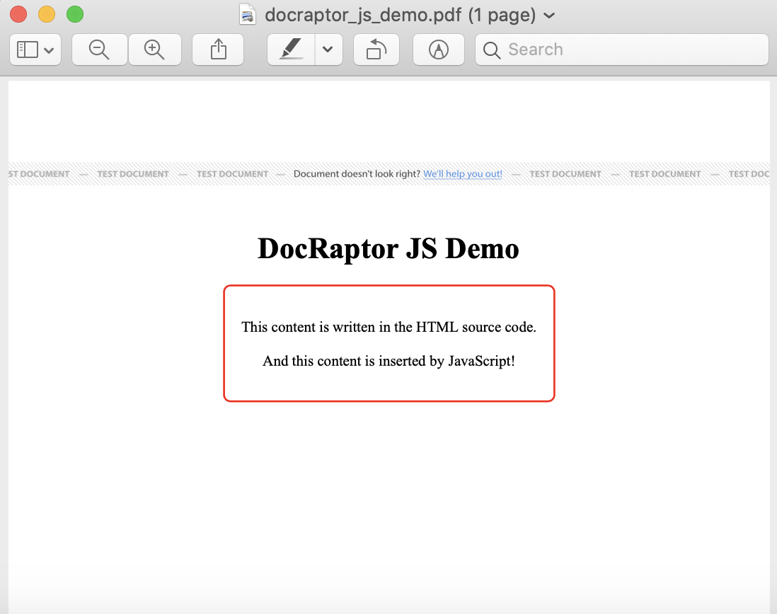 JS demo PDF output from DocRaptor screenshot.