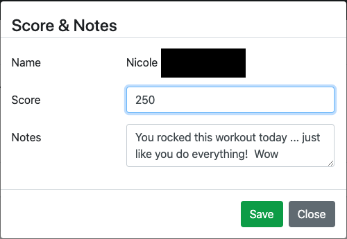 Workout score and notes modal